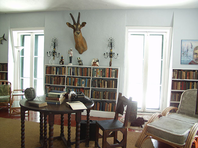 Interior of Library at Hemingway House Key West
