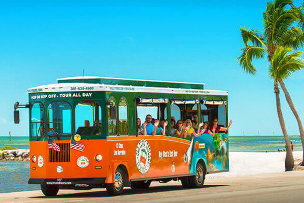old town trolley tour bus on sunny day in key west